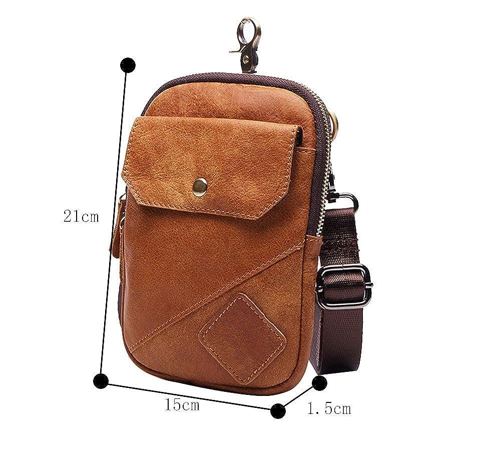 Genda 2Archer Mens Leather Small Waist Pack Phone Pouch Hook Belt Bag