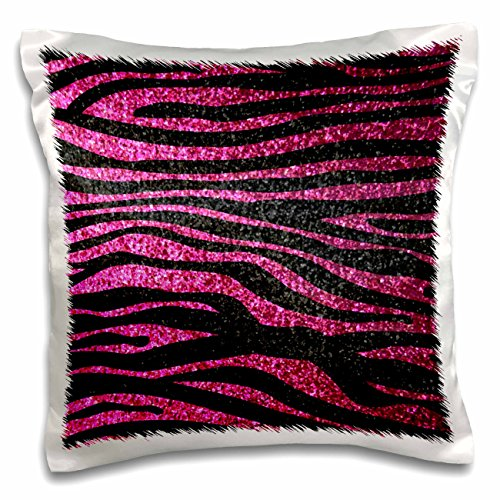 3dRose pc_113174_1 Hot Pink and Black Zebra print Faux bling photo Not Actual Glitter fancy diva girly sparkly sparkles-Pillow Case, 16 by (Pink Zebra Photo)