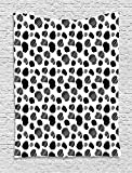 Cow Print Tapestry, Black and White Striped Dots with Abstract Style Farm Animal Hide Agriculture, Wall Hanging for Bedroom Living Room Dorm, 60 W X 80 L Inches, Black White