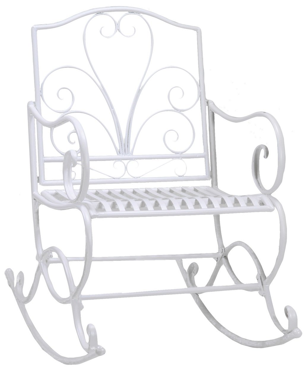Sedia a dondolo in ferro bianco per giardino casa esterno interno terrazzo balcone trattamento antiruggine Savino Fiorenzo