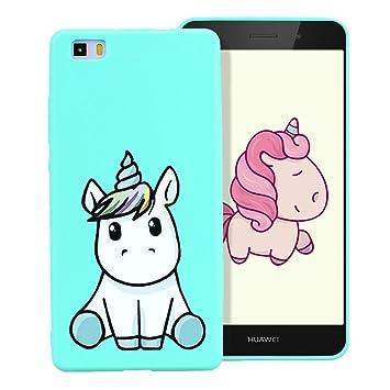 Funda para Huawei P8 Lite 2016 Dibujo Unicornio Encantador Suave Silicona TPU Flexible Carcasa Color Caramelo Ultra Delgado Cover Trasera Case ...