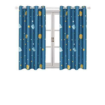 Delightful Room Darkening Kids Curtains For Bedroom U2013Cute Planet Printed Curtains With  Twinkle Star Patterns,