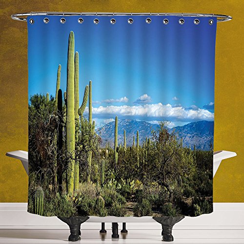 Cool Shower Curtain 3.0 by SCOCICI [ Desert,Wide View of the Tucson Countryside with Cacti Rural Wild Landscape Arizona Phoenix,Green Blue ] Fabric Shower - Hut Tucson The