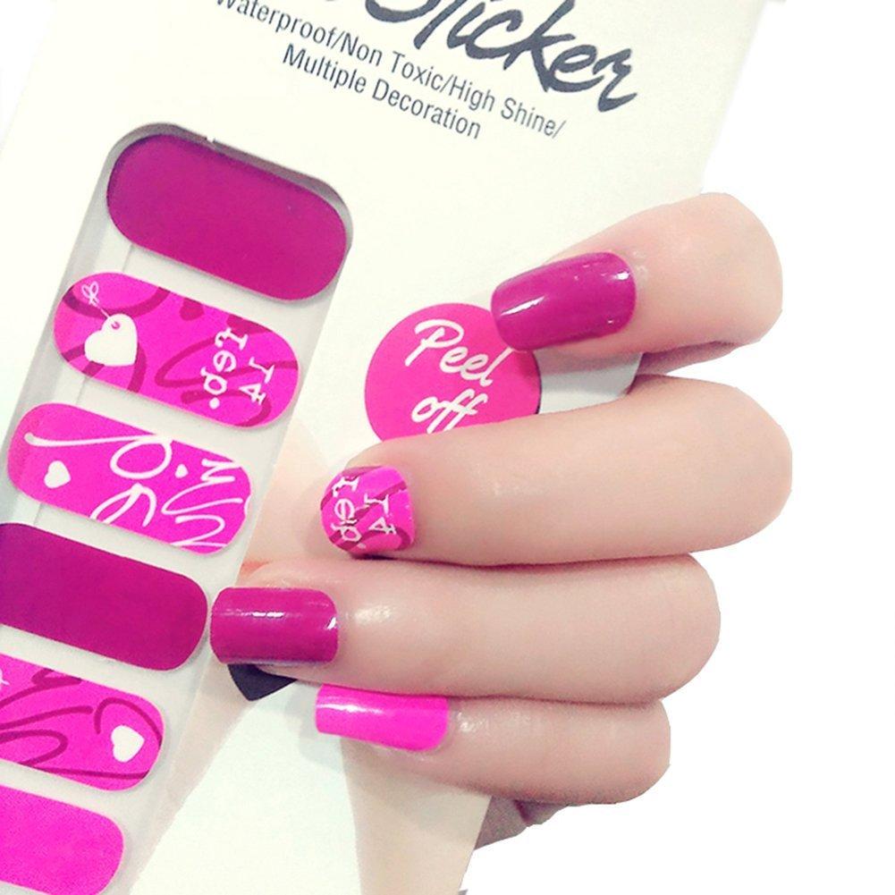 Amazon.com: X.T Nail Polish Strips Pink Valentine\'s Day Nail Sticker ...