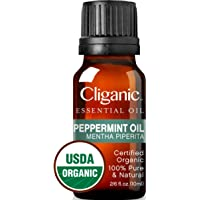 Cliganic USDA Organic Peppermint Essential Oil, 100% Pure Natural Undiluted, Therapeutic Grade for Aromatherapy & to Repel Mice Spiders | Premium Certified Organic, Non-GMO