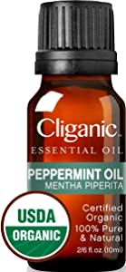 Cliganic USDA Organic Peppermint Essential Oil, 100% Pure Natural Undiluted, Therapeutic Grade for Aromatherapy & to Repel Mice Spiders | Premium Certified Organic, Non-GMO