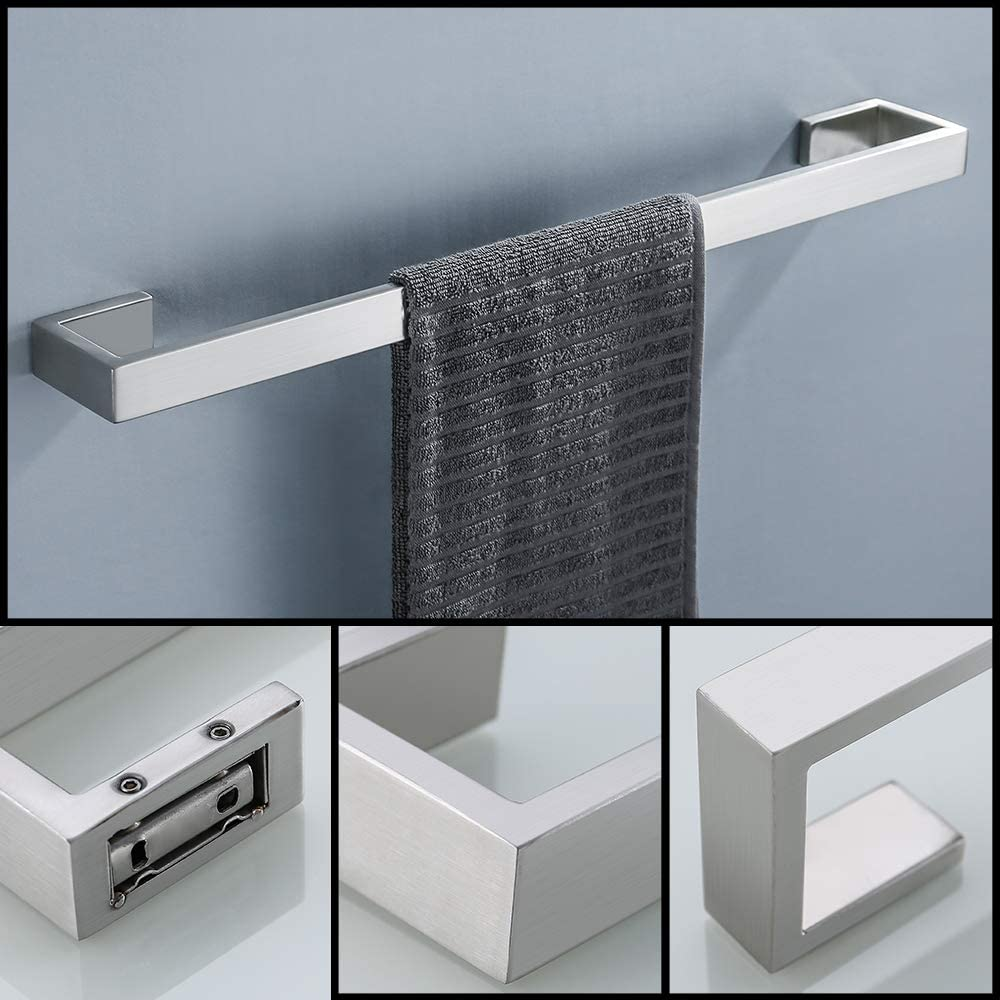 TNOMS 4 Pieces Bathroom Hardware Accessories Set Towel Bar Towel Holder Robe Hook Toilet Paper Holder Stainless Steel,Q8-P4BK