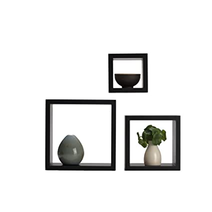 Strange Melannco Floating Wall Mount Square Cube Shelves Set Of 3 Espresso Home Interior And Landscaping Ologienasavecom