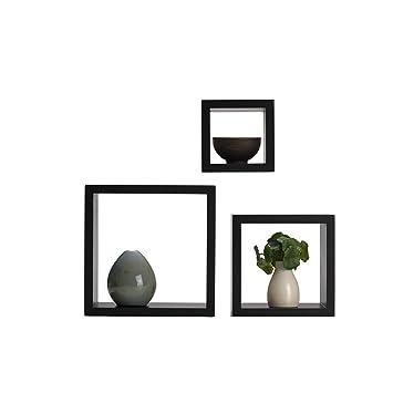 Melannco Square Wood Shelves, Set of 3, Espresso