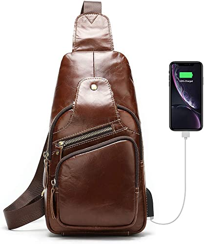 Leather Sling Bag For Men Crossbody Chest Bag Headphones Backpack Outdoor Travel Pack