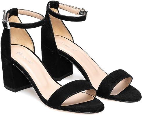 Diosa - Sandalias de Vestir con Tiras para Mujer en Piel - Hechas en España - Tacon Bajo Ancho 6 cm - Cierre con Hebilla al Tobillo - Moda Casual Verano: Amazon.es: Zapatos y complementos