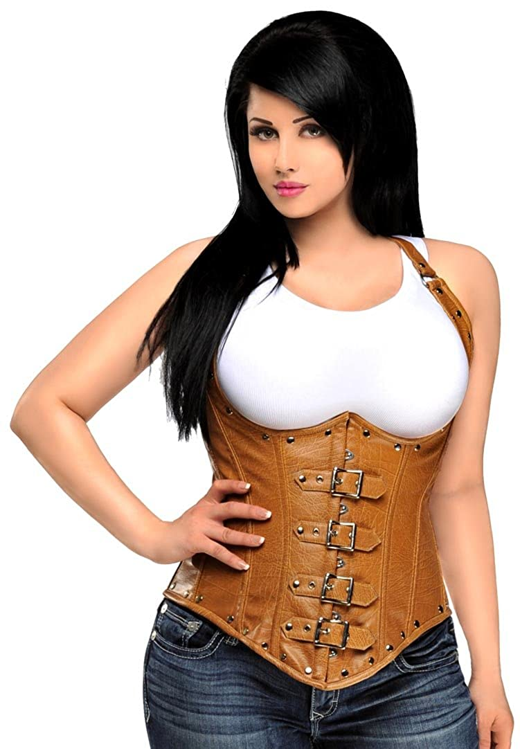 DaisyCorsets Women's Top Drawer Steel Boned Distressed Leather Underbust Corset Daisy Corsets