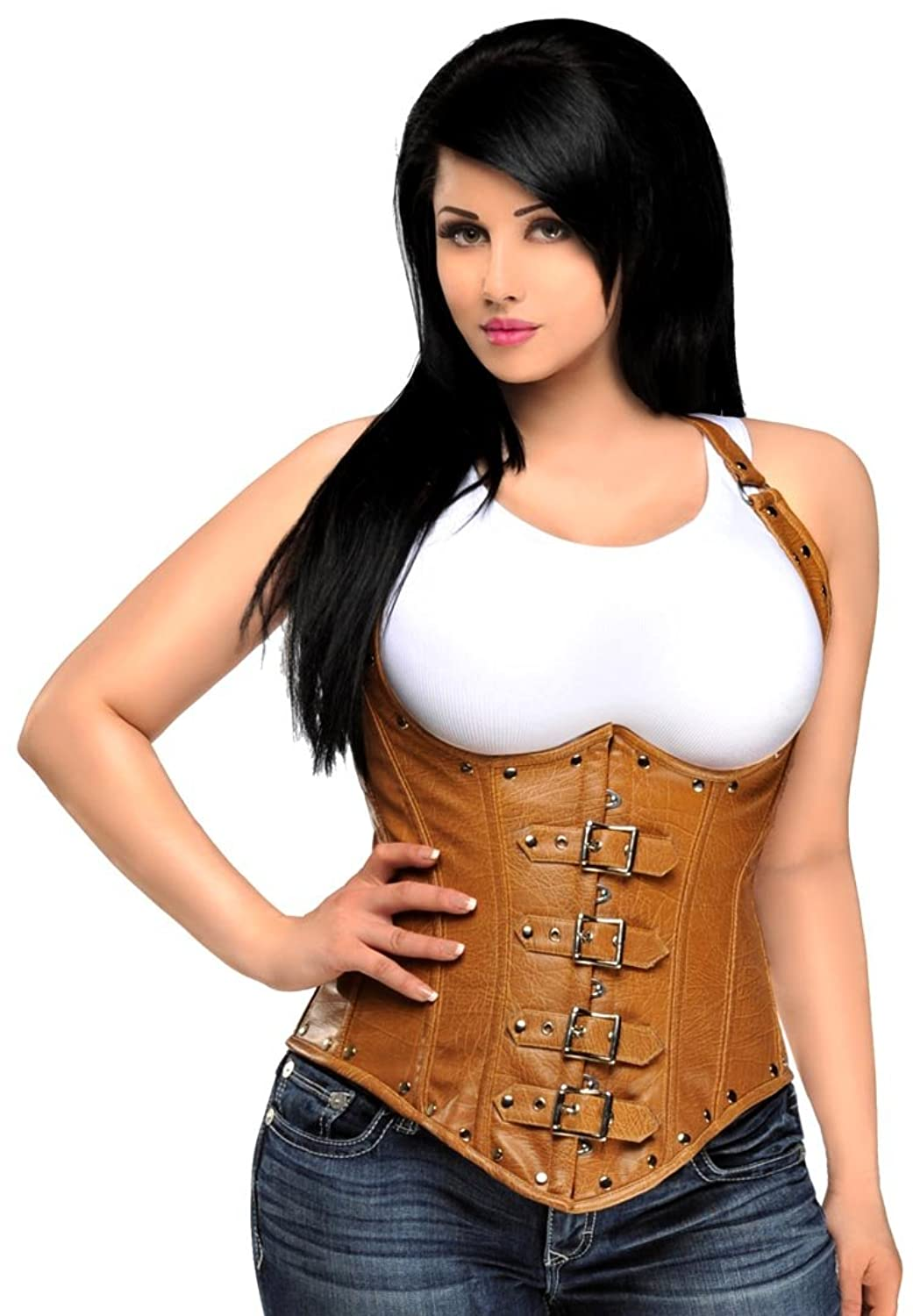 Daisy Corsets Women's Top Drawer Steel Boned Distressed Leather Underbust Corset by Daisy Corsets