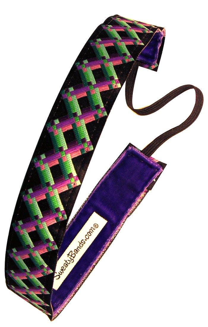 Sweaty Bands - Criss Cross 1'' Wide Headband - #1 Fitness Headband! (Green and Purple)