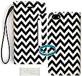 iPhone 5C/LITE Premium Faux Leather Chevron Design Wallet Case With Wireless Fones TM Premium Screen Potector& Wrist Band