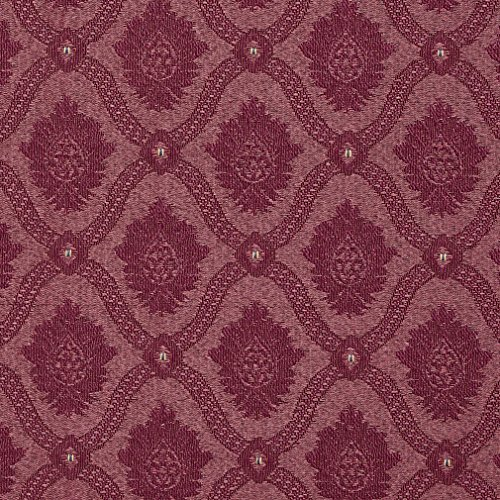 A494 Burgundy Two Toned Brocade Medallion Upholstery Fabric by The Yard