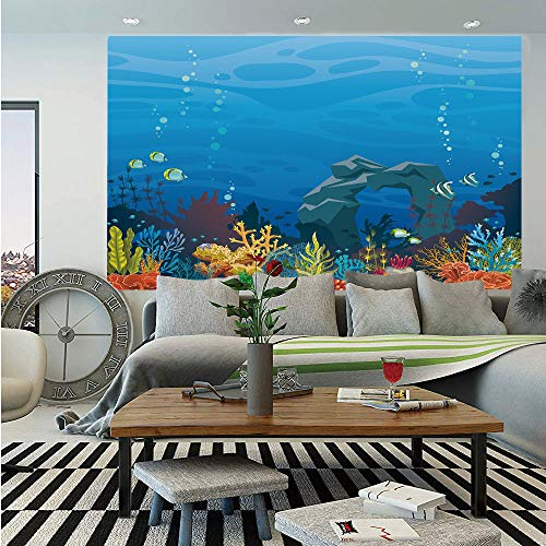 SoSung Aquarium Huge Photo Wall Mural,Colorful Coral Reef with Fishes and Stone Arch Under The Sea Natural Seascape Decorative,Self-Adhesive Large Wallpaper for Home Decor 108x152 inches,Multicolor