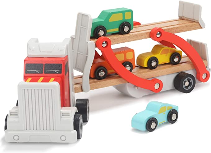 TOP BRIGHT Wooden Truck Toys for 2 Year Old Boys Gifts, Wooden Car Toy for Two Year Old Present, Childrens Transport Toy for Boys Age 2