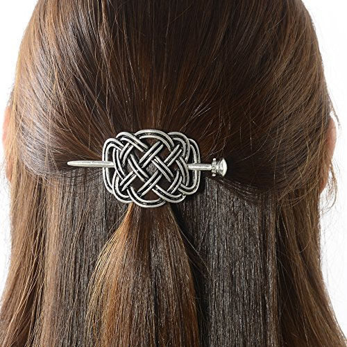 Viking Celtic Hair Slide Hairpins- Viking Hair Accessories Celtic Knot Hair Barrettes Antique Silver Hair Sticks Irish Hair Decor for Long Hair Jewelry Braids Hair Clip With Stick (ID-HH)