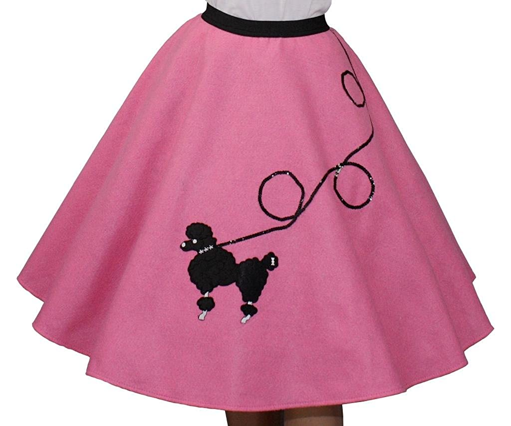 3 BIG NOTES Adult Hot Pink Felt Poodle Skirt FELT - Pink HOT