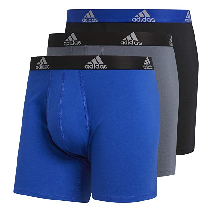a966817a2c66 adidas Men's Stretch Cotton Boxer Briefs Underwear (3-Pack), Bold Blue/