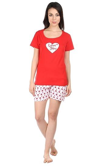 59852370fbb Women Girl Printed Red Color Half Sleeve Top & Short Set - Night Suit -  Lounge Set - Night ...