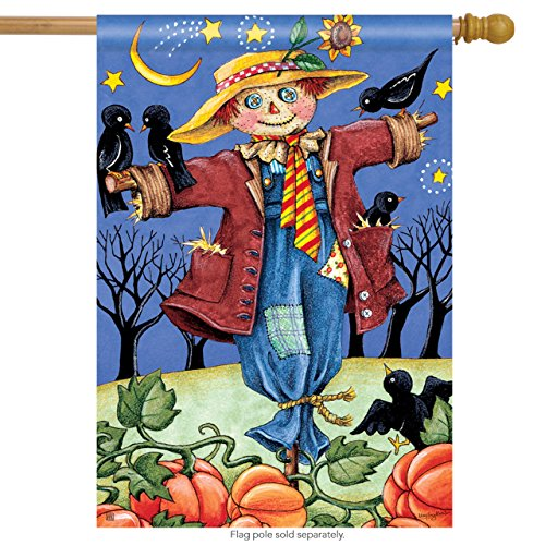 Breeze Art Moonlight Scarecrow Fall House Flag Autumn Crows Sunflower Pumpkins 28