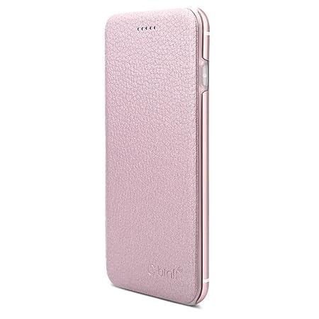 OKCS Binli echt Leder Schutzhülle kompatibel mit iPhone 6 Plus, 6s Plus mit stylischer Aluminium Rückseite Hard Cover Flip Ca