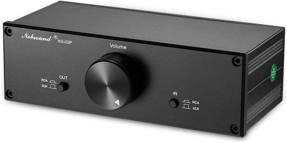 Nobsound Mini Fully-Balanced Single-Ended Passive Preamp Hi-Fi Pre-Amplifier XLR RCA Volume Controller for Active Monitor Speakers Black