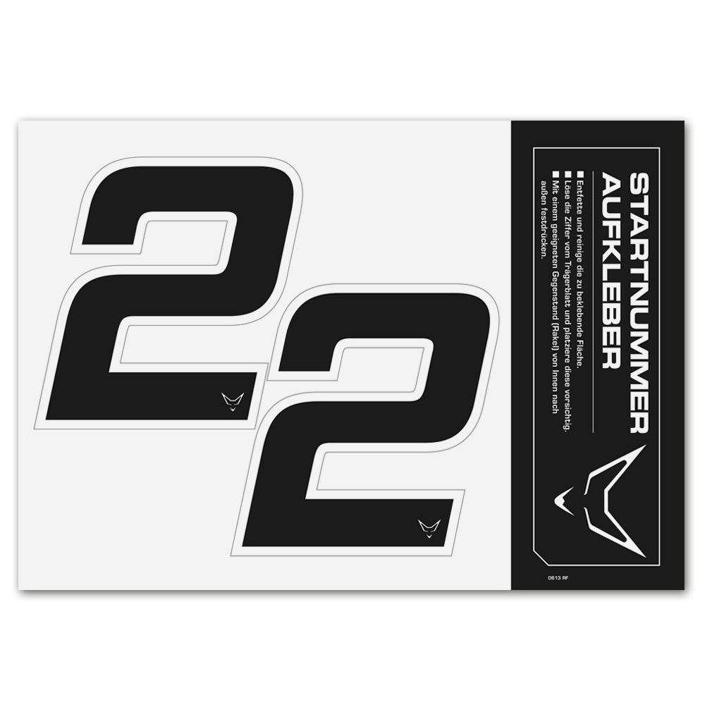 Zahlen Startnummer Aufkleber 2er Set # 2 RACEFOXX Nummern