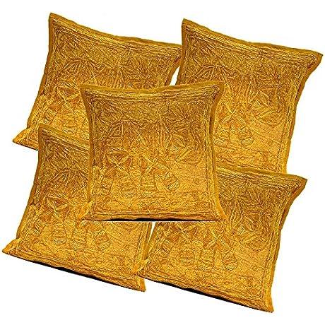 5Pcs 100Pcs Amazing India Cotton Jari Embroidered Work Brown Beautiful Cushion Covers Wholesale Lot