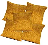 5Pcs-100Pcs Amazing India Cotton Jari Embroidered Work Brown Beautiful Cushion Covers Wholesale Lot