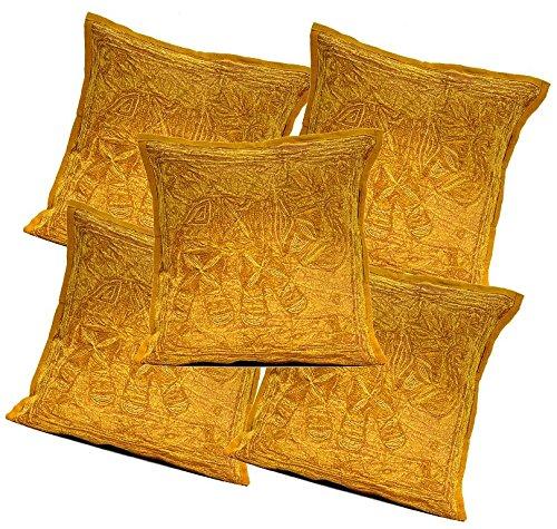 5pcs-100pcs AmazingインドコットンJari刺繍作業ブラウン美しいクッションカバー卸売ロット 16 x 16 Inches AICC331  Brown-100pcs B01F8XN5EQ