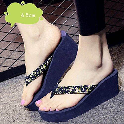Tacón hembra verano antideslizante Tejido floral con los zapatos de palabras Slope con los zapatos sandalias sandalias de playa de fondo grueso (4colores en option) (talla facultative), a, 35 C