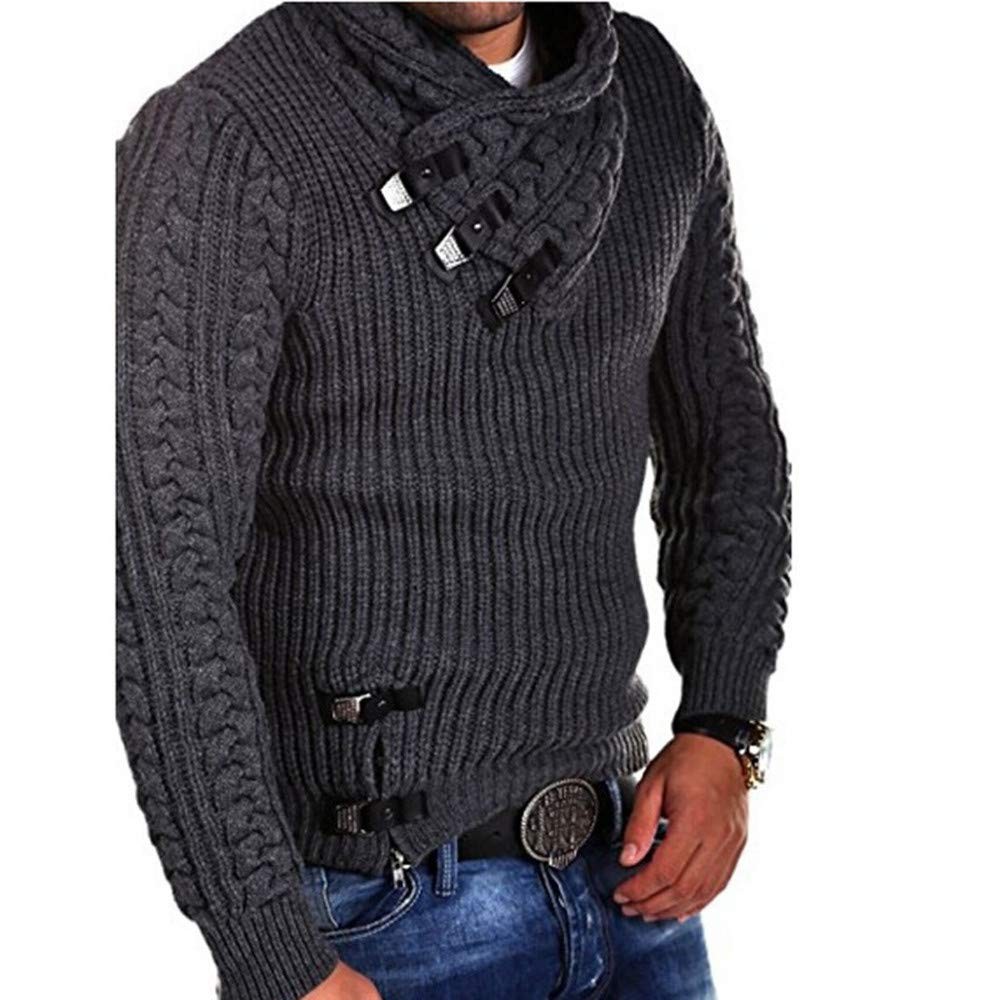 Mens Sweater Winter Long Sleeve Solid Cable Knitted Sweater Pullover Tops Outwear (M, Black)