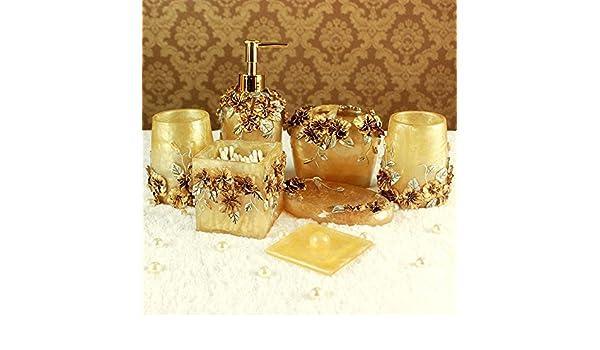 XX & GX Romántico Señor hogar Baño amenity Kit Resina Amarillo Juego de Kit de seis: Amazon.es: Hogar