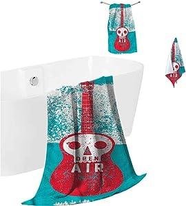 prunushome Large Bath Sheet Indie Quick-Dry Bath Towel Set Open Air Festival Guitar for Bathroom Spa Gym Sports 3 Piece Towels Set (Bath Towels,Hand Towels,Washcloths)