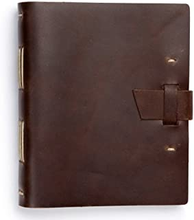 product image for Traveler Leather Journal by Rustico with Buckle Closure, 8 by 6.5 Inches, Dark Brown, Made in The USA