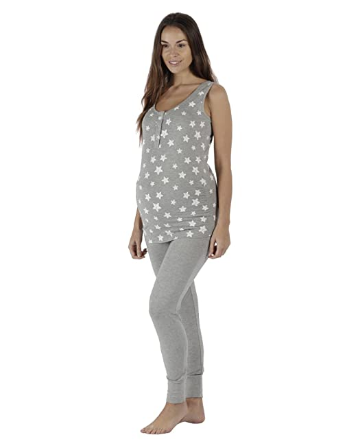 The Essential One - Mujeres Maternidad/Lactancia Jogger Pijamas Estrella - Gris - 36/