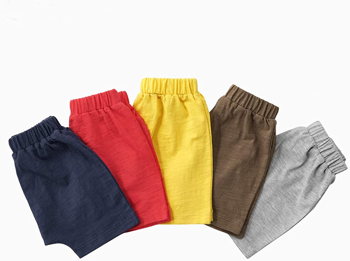 Teach Leanbh Unisex-Baby 3-Pack Cotton Soild Color Short with Drawstring 3-24 Months
