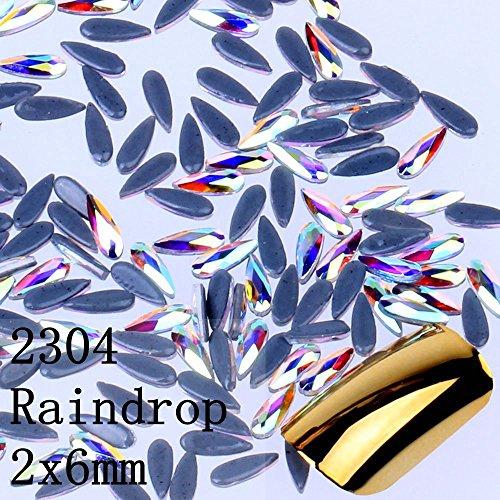 - NIZI 2x6mm Glass Crystal AB 2304 Raindrop Nail Art Hotfix Flatback Rhinestones Gems,for Crafts Garments Decoration,144 Piece