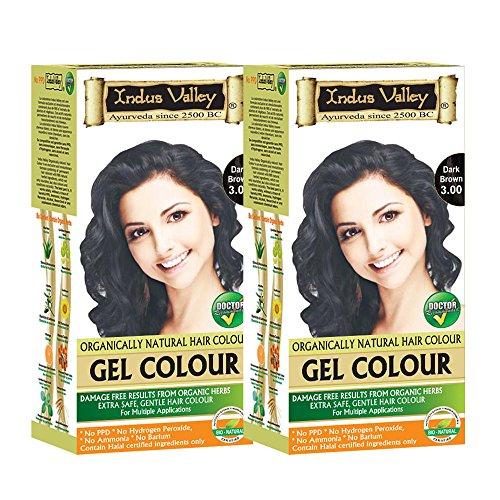 Indus Valley Organically Natural Permanent Herbal Hair Color Dark Brown 3.0 - Twin (Removing Permanent Hair Color)