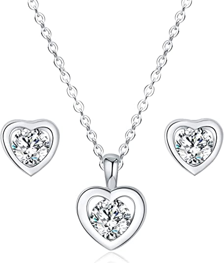 LicLiz Heart Jewelry Set, Solitaire Cubic Zirconia Heart Pendant Necklace and Heart Cz Stud Earrings