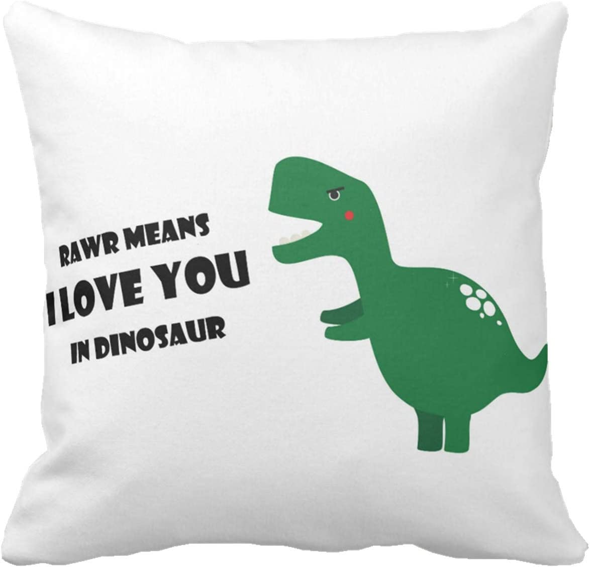 Kissenday 18X18 Inch Rawr Means I Love You in Dinosaur Humorous Quote Cotton Polyester Decorative Home Decor Sofa Couch Desk Chair Bed Car Lovely Saying Birthday Gift Square Throw Pillow Case
