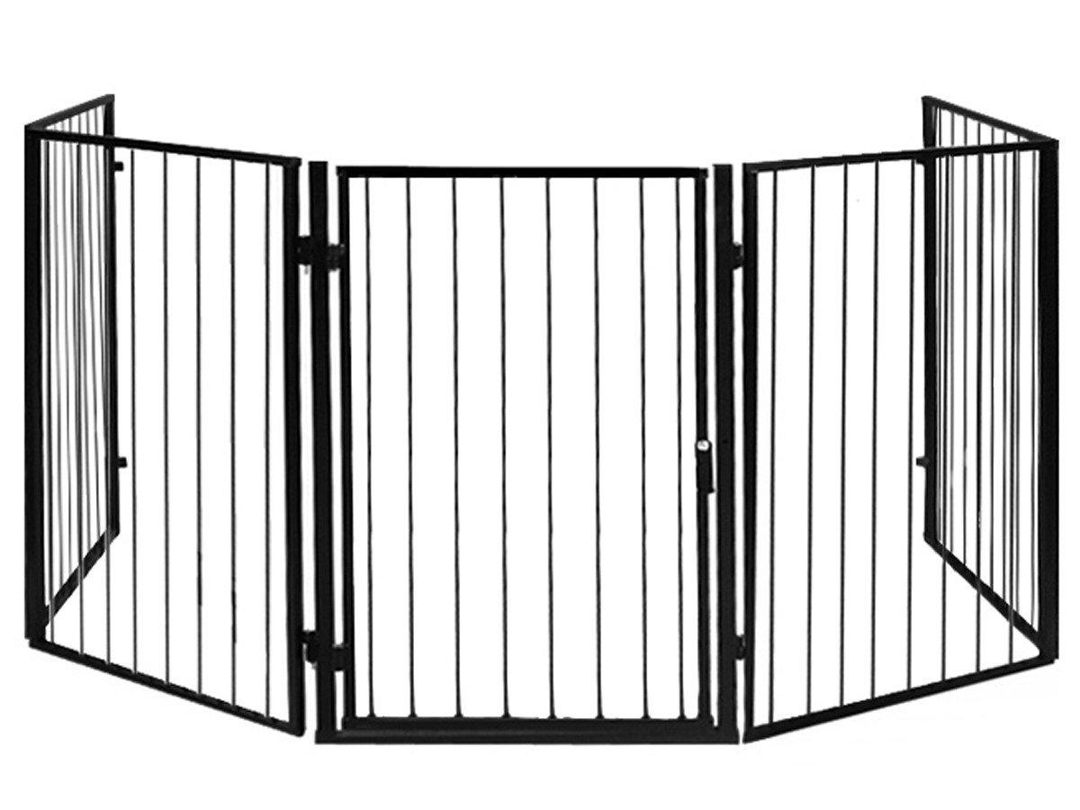 Iso Trade Kaminschutz mit Tü r aus Metall Kinderschutzgitter Ofenschutzgitter Absperrgitter #2961
