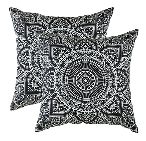 TreeWool Decorative Square Throw Pillow Covers Set Mandala Accent 100% Cotton Cushion Cases Pillowcases (16 x 16 Inches / 40 x 40 cm, Black in Cream Background) - Pack of 2 - Square Cream Black
