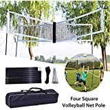 Loveinwinter 4-Sided Volleyball Net Bracket Set, Outdoor Game Four Square Cross Volleyball Training Net Bracket with Carrying Bag