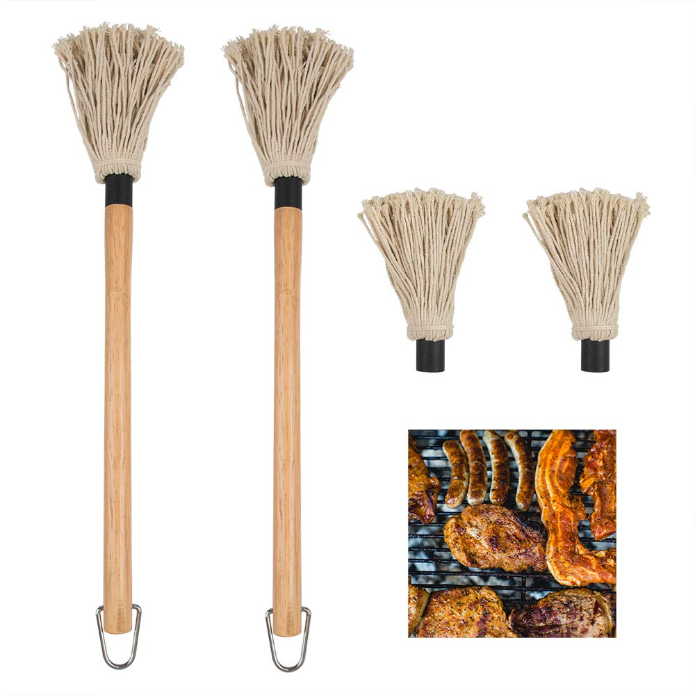 DanziX 2 Pack BBQ Basting Mop, Professional Barbecue Sauce Large Mop with Wood Handle Washable Cotton Head with 2 Pack Extra Replacement Heads for Cooking Roasting Grilling by DanziX