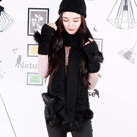 Amazon.com  GBSELL 3PC Women Winter Warm Knitted Wool Fluffy Hat + ... 47a2bf7285a