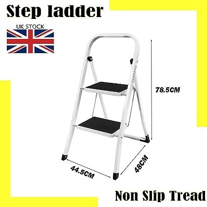 Escalera de acero resistente de 2 peldaños, portátil, compacta, plegable, de metal, antideslizante, taburete de escalera: Amazon.es: Oficina y papelería